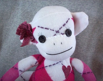 Sock monkey stuffed toy, monkey made from socks, sock animal, sock monkey plush toy