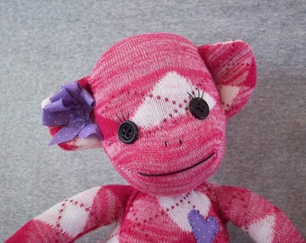 Sock monkey stuffed toy, monkey made form socks, sock monkey plush toy, gift for children, sock monkey collector