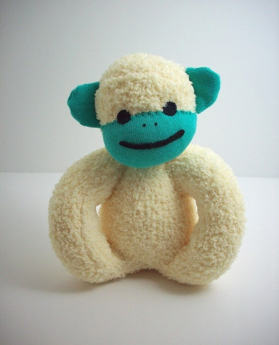 Baby's first sock monkey baby safe plush toy in yellow and teal, baby safe stuffed toy, gender neutral baby shower gift, monkey nursery