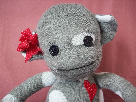 A Sock Monkey in Grey with Polka Dots- Josephine
