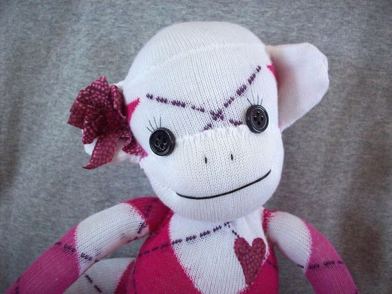 A Sock Monkey Doll in Pink and White Argyle, Blanche
