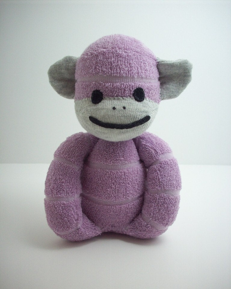 Baby s First Sock Monkey in Purple Terry Cloth by