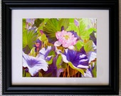 12x15 Frame Matted to 8x10 Print from Original Lotus Flower Oil Painting,  Holiday gift.