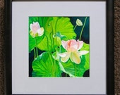 8x8 Print from Original Lotus Flower Oil Painting, Holiday gift, weding gift. birthday gift