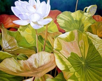 Sunny Afternoon 38x32 Original Oil Painting of Lotus Flower,  Holiday gift.