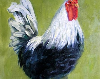 Black Rooster 16x20 Original Oil Painting,  Holiday gift