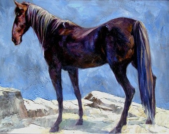 A Horse on the Hill 18x14 Oil on Canvas, Holiday gift.