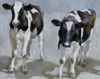 The Calves 20x16 with 26x21 Framed Original Oil Painting, Holiday gift