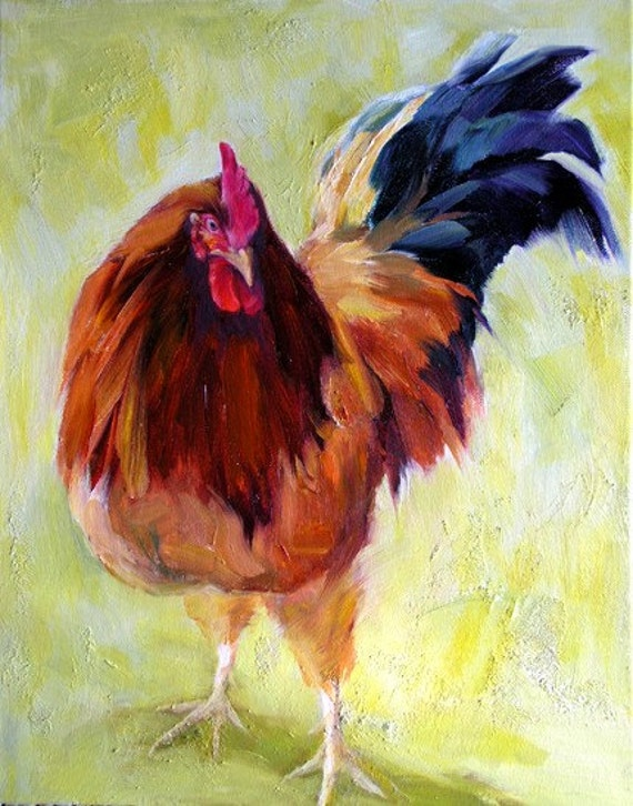 Red Rooster 16x20 Original Oil Painting,  holiday gift