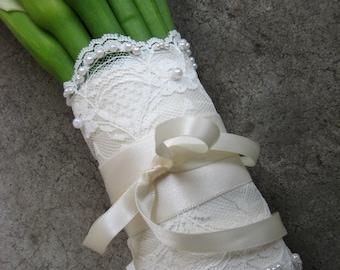Beaded Lace Wedding Bouquet Wrap
