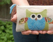 owl turquoise personalized pouch with zipper spring green, turquoise blue, orange and white, whimsical bird mother's day gift for her