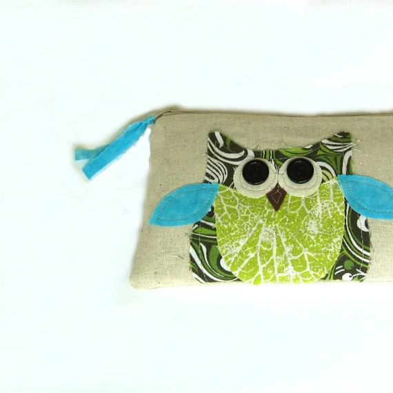 owl springtime personalized pouch with zipper green, blue and white, will customize with your name, under 30