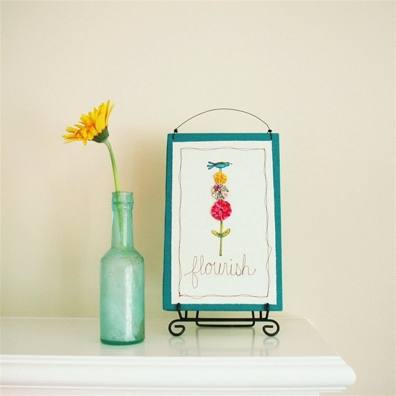 bluebird in the garden illustration, spring flower, colorful botanical wall decor, teal yellow pink, READY TO SHIP graduation gift under 30