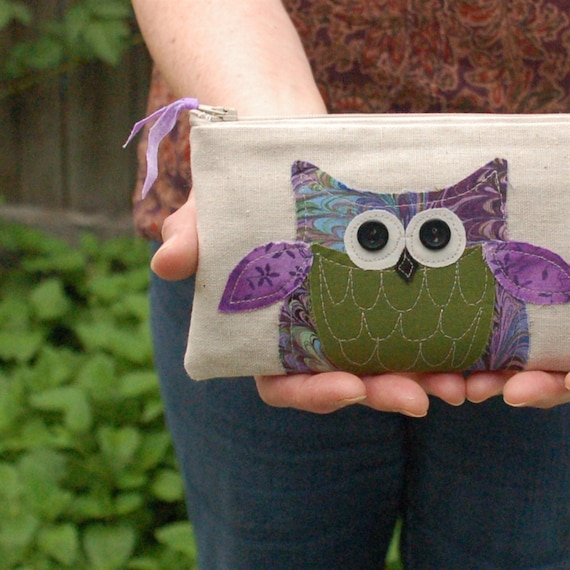 SALE green owl pouch with purple details, woodland, moss green, marbled pattern READY to SHIP by mamableudesigns on etsy
