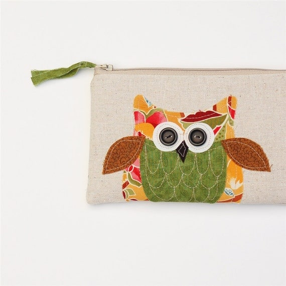 SALE owl zipper pouch, decorative owl clutch, pencil case, orange green brown, gift for her, READY to SHIP by mamableudesigns