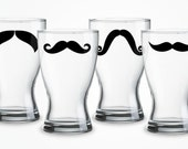 Brand new- Mustache Pilsner Glasses - Variety of Colors and Styles  (set of 4)