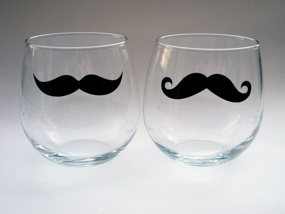 Stemless Wine Glasses - Variety of styles and Colors - Set of 2