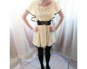 Whimsical Romantic Pale Yellow Cream Enchanting Ruffled Chiffon Tulle Dress / Frou Long Top