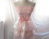Soft Pale Angel Sweet Blush Candy Pink Ballerina Romantic Dreamy Misty Ruffled Bridal Inspired Cupcake Tiered Puffy Poofy Playful Satin Organza Taffeta Tube Dress