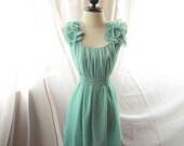 Minty Green River of Romansk Dress Romantic Havisham Mille Feuille Petal Chiffon Bubble Hem Dress