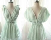 Romantic Pale Chantilly Pistachio Green Morning Dew Dreamy Soft Peaceful Misty Chiffon Lace Hem Dress./ Long Tunic