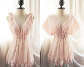 Romantic Fairy Pink Autumn Dress Fall Tunic Pale Chantilly Rose Blush Champagne Dreamy Soft Peaceful Chiffon Lace Hem Mini Dress