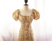 Rustic Spring Wheat Puff Sleeve Dress Tea Party Alice in the Wonderland Cherry Rosebud Peach Floral Country Dress