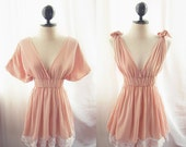 Romantic Fairy Dusty Pink Peachy Dress Tunic Pale Chantilly Rose Blush Champagne Dreamy Peaceful Chiffon Lace Grecian Kimono  MINI Dress