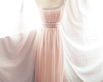 Angel Pink Toga Faux Diamond Prom Long Evening Cocktail Dress Princess Carrie Luxe Goddess Rose Tea Blush Champagne Romantic Gown