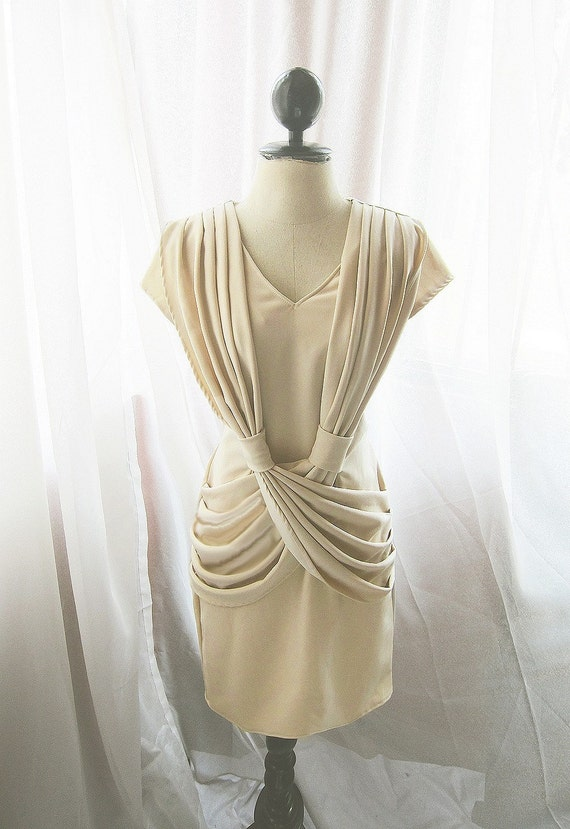 Grace Kelly Creamy Mad Men Vintage Inspired Bombshell Wiggle Dress