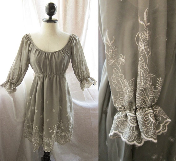 Romantic Misty Autumn Dream Whimsical Embroidered Floral Motif Poet Sleeves Nostalgia Field Gray Cream Chiffon Dress