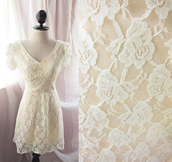 Soft Creamy Pale Yellow Frou Frou Marie Antoinette Dreamy Ethereal Romantic Flirty Dawn Princess Rose Lace Dress