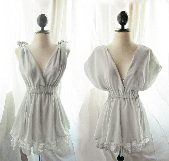 Solace Romantic Oatmeal Grainy Dusy Gray Dreamy Soft Peaceful Misty Chiffon Lace Hem Dress./ Long Tunic