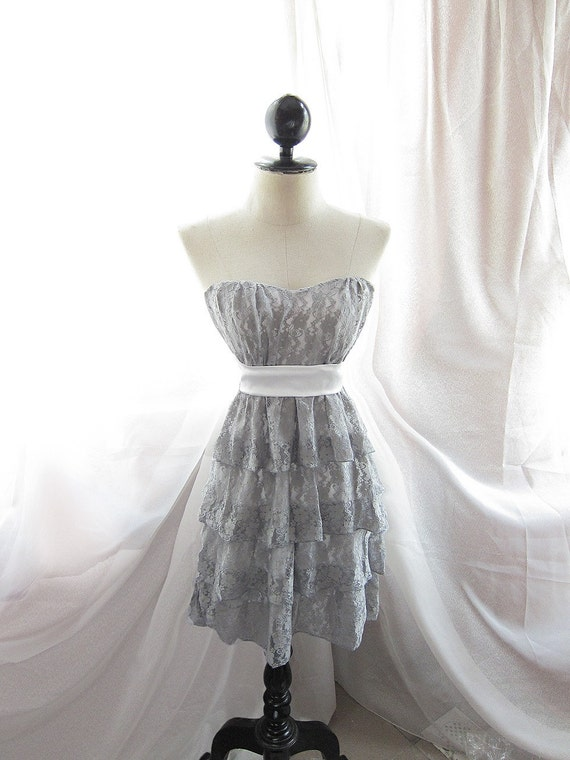 Angelic Rainy Nostalgia Gray Dreamy Ethereal French Lace Ballerina Tulle Cake Tiere Boudoir Dress