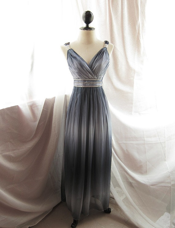 Goddess Soft French Riviera Mystik Prussian Navy Gray Blue Long Dress Dreamy Whimsical Romantic Angel Marie Antoinette Empire Chiffon Gown