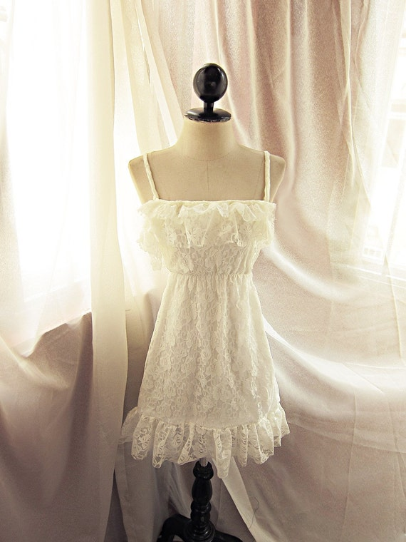 ... Ethereal Ivory White Lace Ballerina French Boudoir Flapper Dress