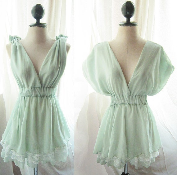 Romantic Pale Chantilly Pistachio Green Morning Dew Dreamy Soft Peaceful Misty Chiffon Lace Hem Dress./ Long Tunic