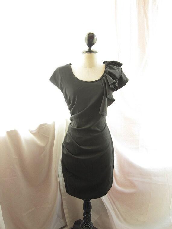 Classic Black Grace Kelly Ruffled Gathered Goddess Mad Men Vintage Inspired Bombshell Wiggle Dress