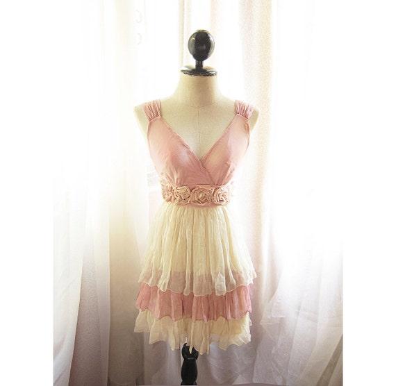 Alice in wonderland Marie Antoinette Secret Garden Jane Austen Nostalgia Soft Heavenly Chiffon Dress / Champagne Shakespeare frock