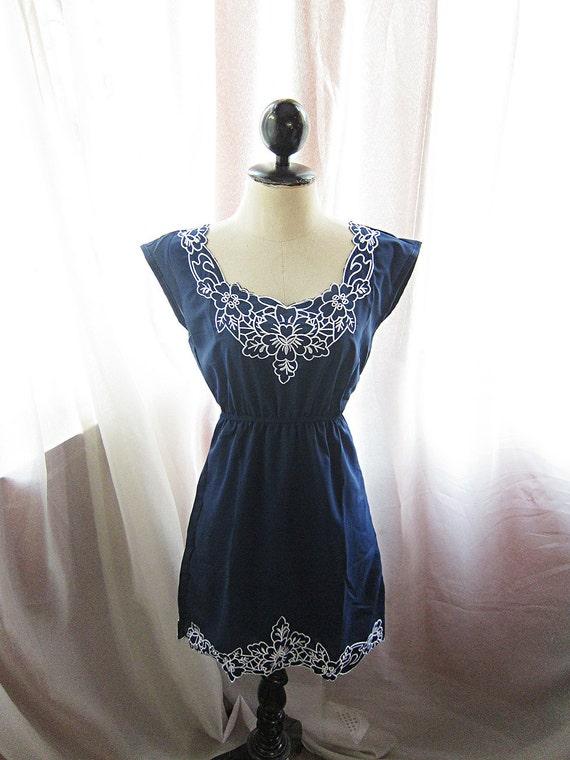 Soft  Rainy Cold Prussian Blue Navy Dreamy Winter Romantic Embroidered Motif Misty Chiffon Heavenly Tea Party Quaint Dress