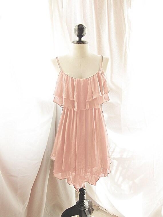 River of Romansk Autumn Romantic Angel Baby Pink Chiffon Dress Blush Petal Rose Tea Marie Antoinette Ballerina Vintage Flapper Dress