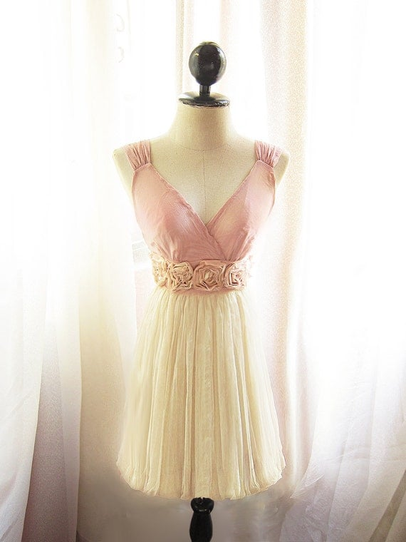 Blush Angel Dusty Pink Cream Nostalgia Rosette Soft Heavenly Chiffon Romantic Marie Antoinette Dress / Champagne Shakespear Long Tunic