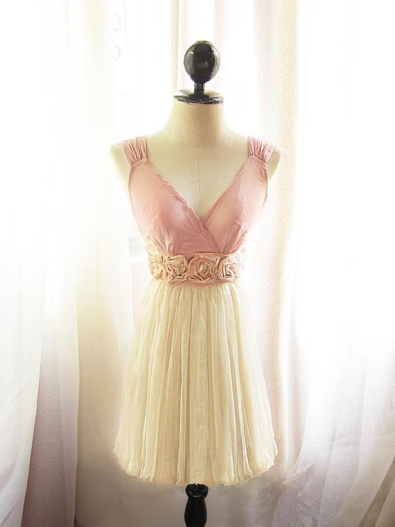 Blush Angel Dusty Pink Cream Nostalgia Rosette Soft Heavenly Chiffon Romantic Marie Antoinette Dress / Champagne Shakespear Long Tunic