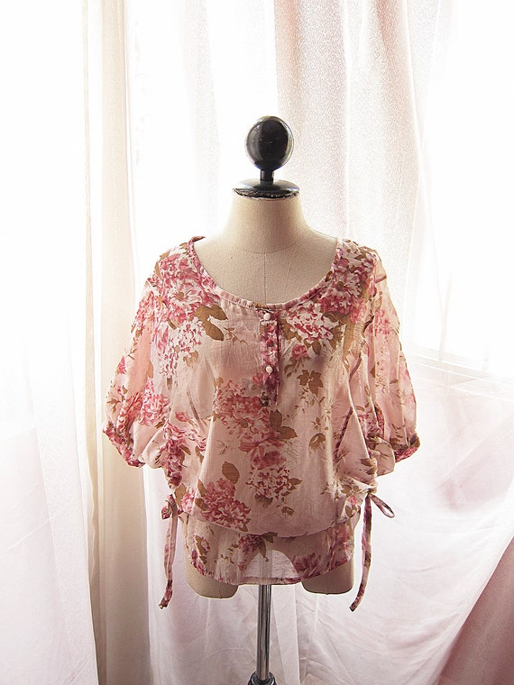Alice in Wonderland Romantic Blush Petal Marie Antoinette Sakura Shabby Chic Jane Austen English Rose Garden Sheer Tunic Top