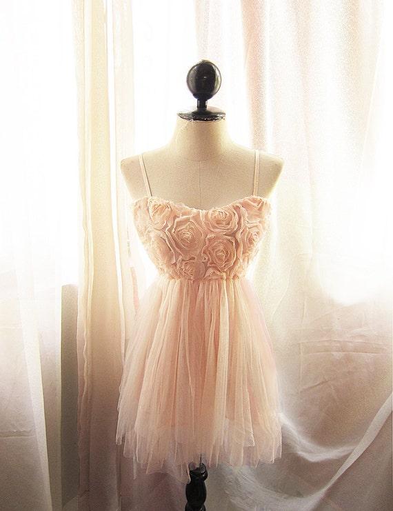 Marie Antoinette Romantic Blush Pink Roses Petal Dreamy Spring Ethereal Angel Whimsical Rosette Ballerina Mini Tulle Dress