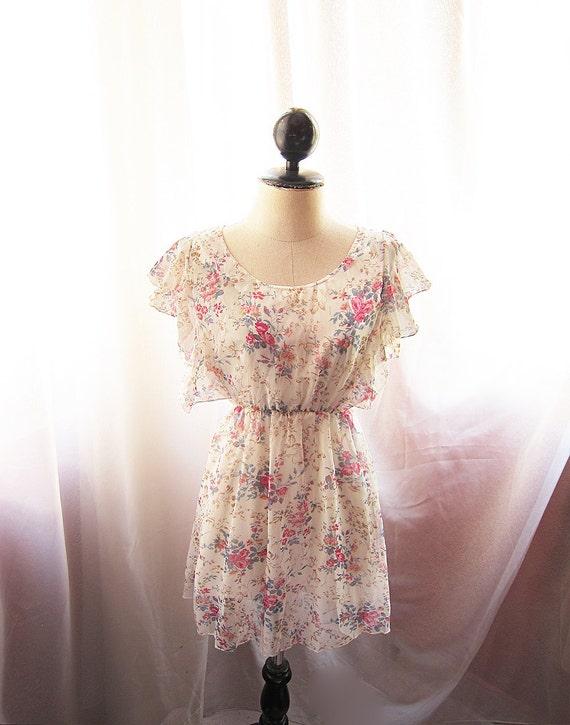 Romantic Vintage Cream Angel Misty Dreamy Garden Whimsical Petite Floral Soft Chiffon Butterfly Wings Mini Dress Long Tunic
