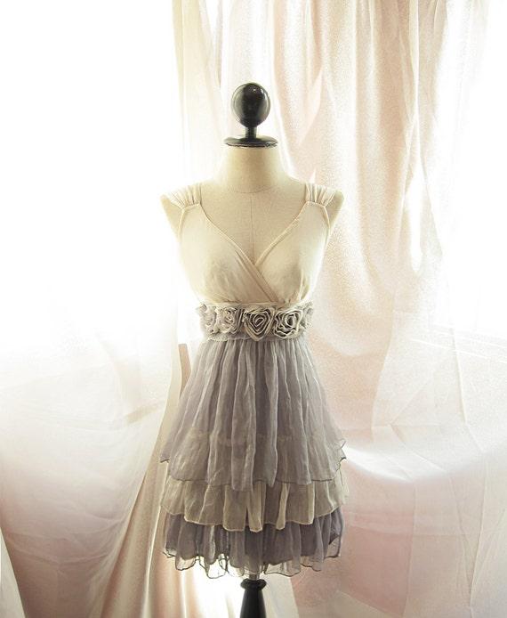 RiverofRomansk Dreamy Cream Misty Earl Gray Rainy Nostalgia Dusty Rosette Soft Heavenly Chiffon Romantic Marie Antoinette Lady Ophelia Dress