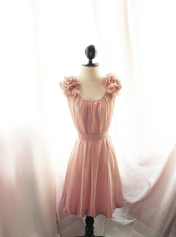 Angel Peach Alice in Wonderland Marie Antoinette Jane Austen Misty Nostalgia Dreamy Tea Rose Havisham Mille Feuille Cutouts Chiffon Dress