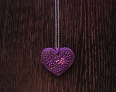 Wooden Embroidered My Purple Heart Pendant
