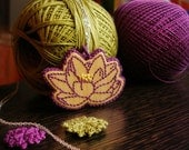 Purple Lotus Flower wooden embroidered pendant